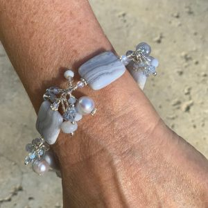 Cloud BLUE LACE Agate, Pearls and Swarovski Bracelet