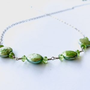 SPRING GREEN Coin Pearls and PERIDOT Handmade Belly Chain