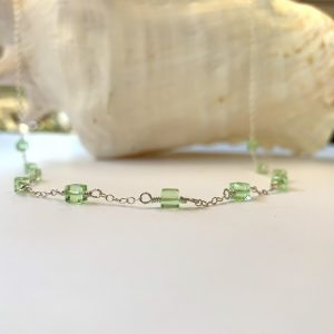 MINT GREEN Swarovski Cubes and Lampwork Bead Belly Chain