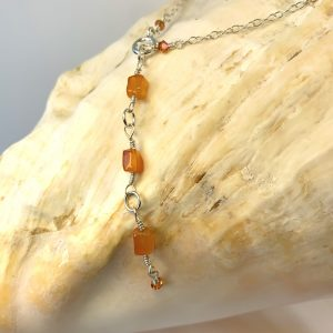 Genuine Carnelian and FIRE OPAL Swarovski Handmade Belly Chain