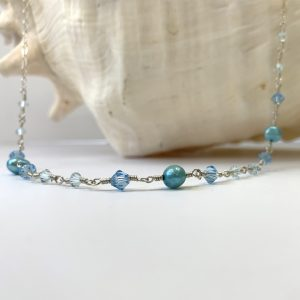 Turquoise SALTWATER PEARLS and Swarovski Belly Chain