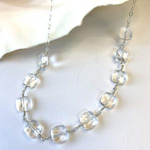 Clear Faceted PILLOW QUARTZ Handmade Belly Chain
