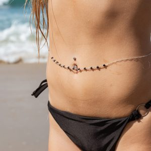 Feminine and Faceted NAVY GOLDSTONE Round's Belly Chain