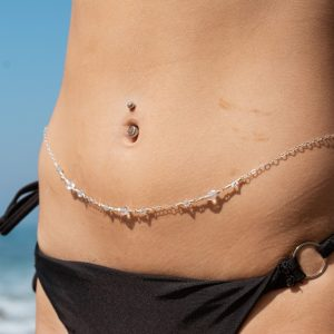 DOUBLE WIRE-WRAPPED Clear Faceted Swarovski Belly Chain