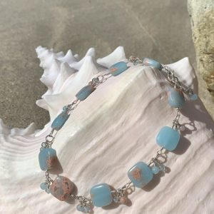 BEACH BLUE Impression Jasper and Swarovski Anklet