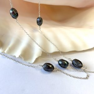 Dark Iridescent PEACOCK Saltwater Pearls 79″ Wrap Necklace