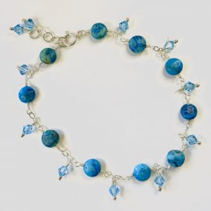 SOLD – Matte Blue Crazy Lace & Swarovski Dangles 'Blue Beach' Anklet