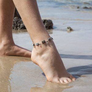Stripe BLACK JASPER, Moonstone and Swarovski Anklet