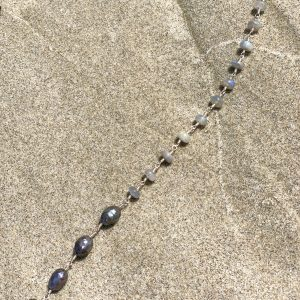 Labradorite and Iridescent SALTWATER PEARLS Backdrop Necklace