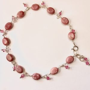 PINK RHODONITE and Swarovski Dangles Anklet