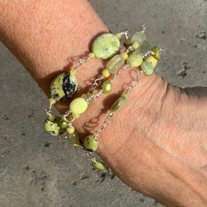 SOLD – LEMON CHRYSOPRASE, Jasper, Peridot and Pearls Bracelet