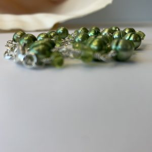 Green PERIDOT RONDELLS And Saltwater Pearls Necklace