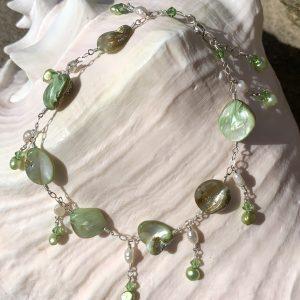 Summer GREEN PEARLS, Shells and Swarovski Anklet