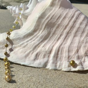 CHARTREUSE Green Saltwater Pearls and Swarovski Backdrop Necklace