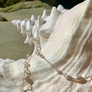Rose Quartz Ovals and DUSTY MAUVE Pearls Belly Chain