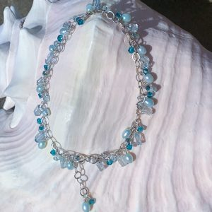 Aquamarine, Tourmaline, Pearls And Swarovski BEACHY ANKLET