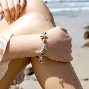 GREEN EARTH JASPER, Saltwater Pearls and Gemstones Bracelet