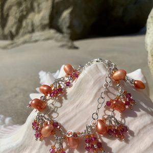SOLD – ORANGE Pearls, FUCHSIA Swarovski on a Double Chain Bracelet