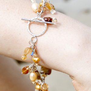 Jasper, CITRINE and Saltwater Pearl 'Hammered Toggle' Bracelet