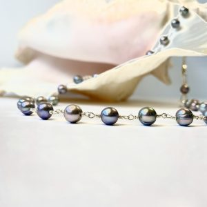 Iridescent SILVER PURPLE Peacock Saltwater Pearl Necklace