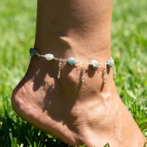 EARTH BLUE Apatite And Double Swarovski Dangle Anklet