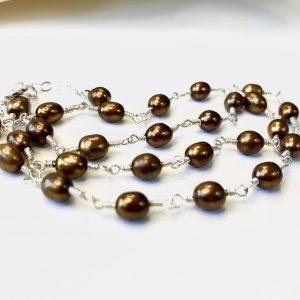 Petite Peacock BRONZE Pearls Handmade CHOKER