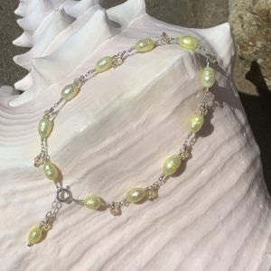 LIGHT YELLOW Oval Pearls and Swarovski Dangles Anklet
