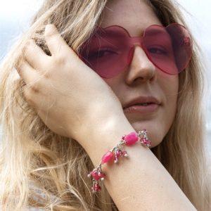 SOLD – FUCHSIA FACETED Quartz, Pearls and Swarovski Bracelet