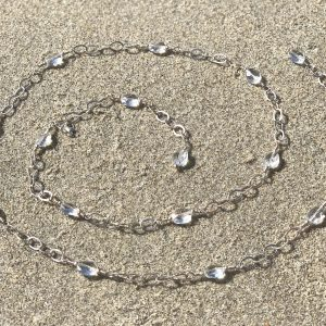 FACETED Clear QUARTZ Ovals Sterling Wire Wrapped Belly Chain