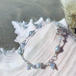 Powder Blue SALTWATER PEARLS, Blue Lace Agate Bracelet