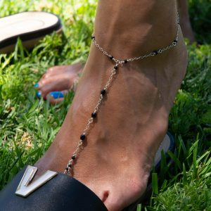 Feminine and Dainty JET ONYX and Sterling Foot Chain