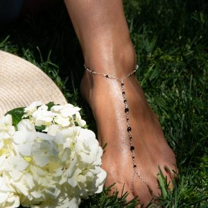 Petite JET ONYX and Sterling Foot Chain