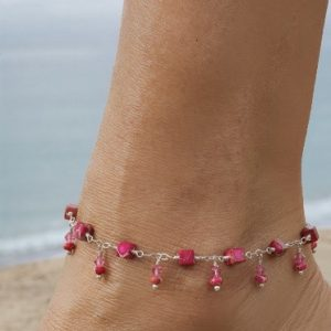 Crazy Fuchsia IMPRESSION JASPER and Swarovski Anklet