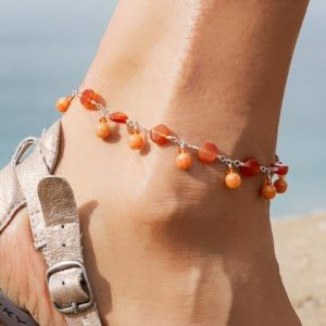 Carnelian Coins, Rounds and  FIRE OPAL Swarovski Anklet