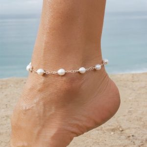 WHITE as WHITE Pearls on a Sterling Circle Link Chain Anklet