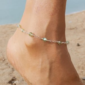 Peridot AURORA BOREALIS Swarovski and Chain Anklet