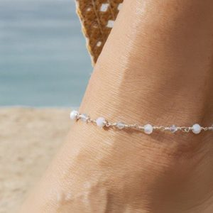 Petite Faceted BLUE LACE AGATE and Swarovski Anklet