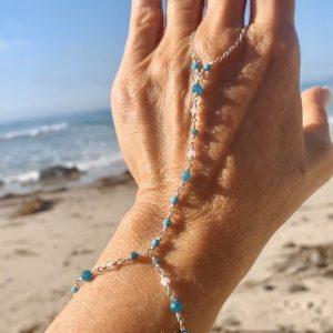 Feminine and Dainty GENUINE GEMSTONES w/ Sterling Hand Chain