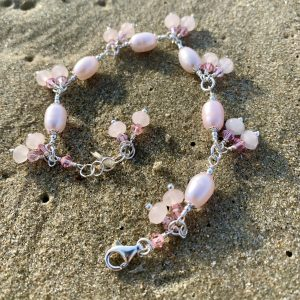 Barely PINK PEARLS, Rose Quartz, Swarovski and Sterling Bracelet