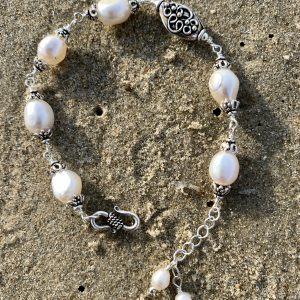 Large and Eloquent Saltwater WHITE PEARLS and Sterling Bracelet