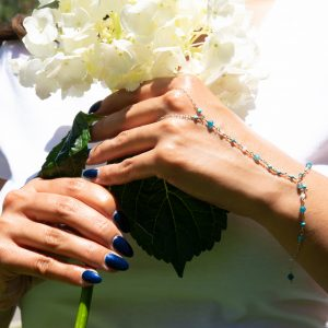 Feminine and Dainty TURQUOISE and APATITE with Sterling Hand Chain