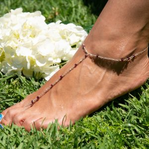 Feminine and Dainty ROUND GARNET and Silver Foot Chain