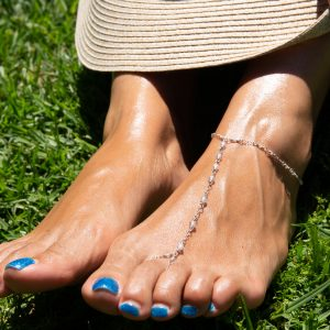 Feminine and Dainty FACETED ZIRCON and Sterling Foot Chain