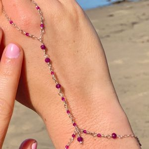 Feminine and Dainty GENUINE RUBIES and Sterling Hand Chain