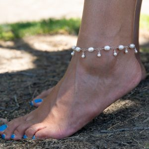 Ivory Saltwater Pearls and Mini PEARLS DANGLES Anklet