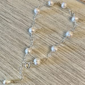 Brilliant Large Saltwater IVORY PEARLS and Sterling Anklet
