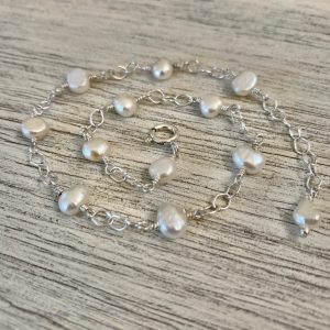 Petite Iridescent KESHI PEARLS and Sterling Link Anklet