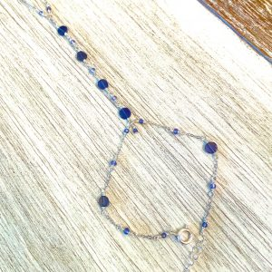 Faceted Coin BLUE IOLITE and Sterling Hand Chain