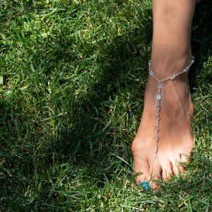 Rectangle AQUAMARINE and STERLING Foot Chain
