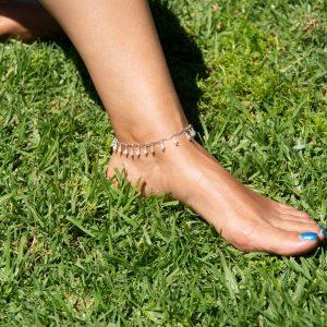 Feminine Double MOONSTONE & STERLING Dangle Anklet